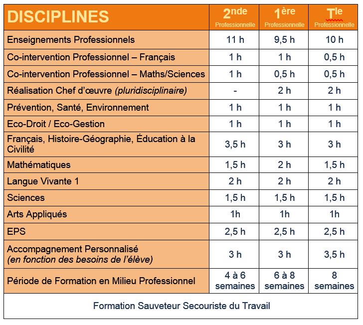 Enseignements général et professionnel en BAC PRO.