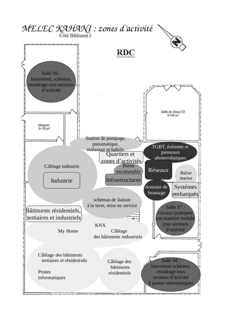 Les six secteurs d'activités à l'atelier d'électrotechnique du lycée de KAHANI.